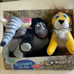 Happy Tails Loonie Jungle Plush Pet Toys 3 Pack